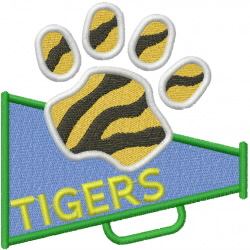 Tigers Megaphone embroidery design