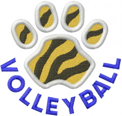 Tigers Volleyball embroidery design