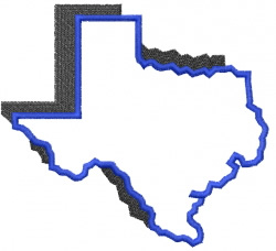 Shadowed Texas outline embroidery design