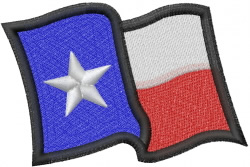 Wavy Texas Flag embroidery design