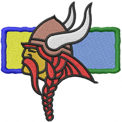 VIKING HEAD WITH RECTANGLE embroidery design
