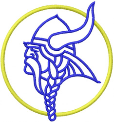 VIKING HEAD OUTLINE WITH CIRCLE embroidery design