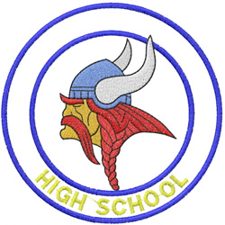 VIKING HEAD – DOUBLE CIRCLES – HIGH SCHOOL embroidery design