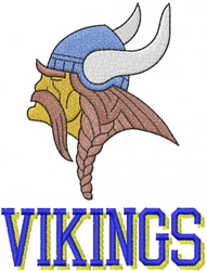VIKING HEAD – SHADOWED BLOCK LETTERS embroidery design
