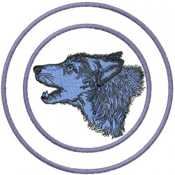WOLF HEAD 1 – DOUBLE CIRCLES embroidery design