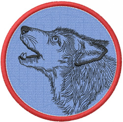 WOLF HEAD 1 – DOUBLE OUTLINED CIRCLE embroidery design