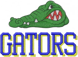 GATOR HEAD 1 – SHADOWED GATORS LETTERING embroidery design