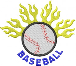 FLAMES and Baseball embroidery design