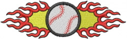 Flaming Baseball embroidery design