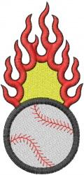 BASEBALL Flames embroidery design