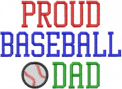 PROUD BASEBALL DAD embroidery design