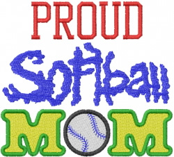 Proud Softball Mom embroidery design