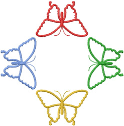 FOUR BUTTERFLY OUTLINES embroidery design