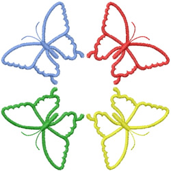 FOUR BUTTERFLY OUTLINES - CIRCLED embroidery design