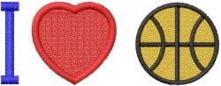 I HEART BASKETBALL embroidery design