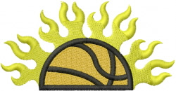 FLAMING HALF BBALL embroidery design