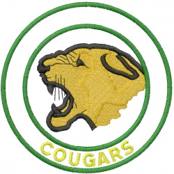 COUGAR HEAD 1 – DOUBLE CIRCLE – COUGARS embroidery design