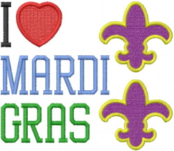 Love MARDI GRAS embroidery design