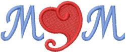 MOM - SWIRL TAIL HEART embroidery design