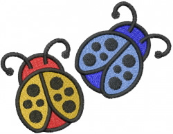 Two Ladybugs embroidery design