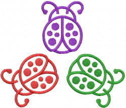 THREE LADYBUGS embroidery design