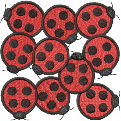 A MESS O LADYBUGS embroidery design