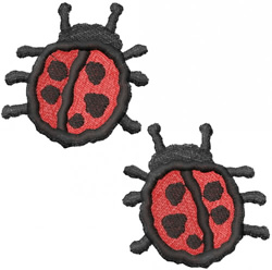 TWO RED LADYBUGS embroidery design