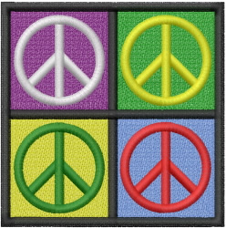 PEACE SIGN SQUARE embroidery design