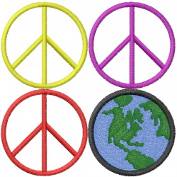 PEACE SIGNS embroidery design