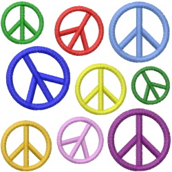 PEACE SIGN RAINBOW embroidery design