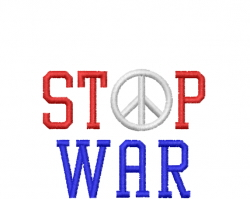 PEACE Stop Wars embroidery design