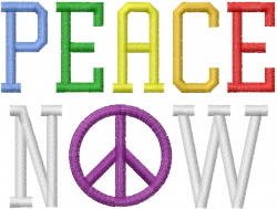 Peace Now Rainbow embroidery design