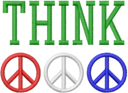 Peace Sign Think embroidery design