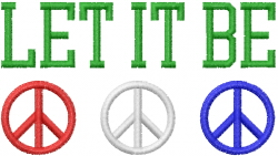 Peace Sign Let It Be embroidery design