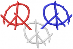 Red White Blue Peace embroidery design