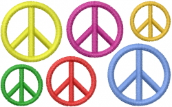 Six Peace Rainbows embroidery design