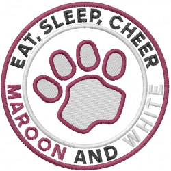 Eat Sleep Cheer embroidery design