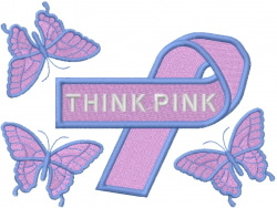 THINK PINK Ribbon embroidery design