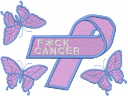 CANCER RIBBON embroidery design