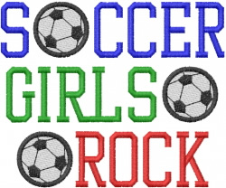 SOCCER GIRLS ROCK embroidery design