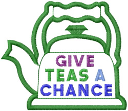 Teas A Chance embroidery design