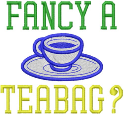 Fancy A Teabag embroidery design