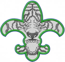 TIGER FLEUR DE LIS embroidery design