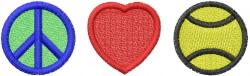 PEACE LOVE TENNIS embroidery design