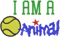 Im a Tennis Animal embroidery design