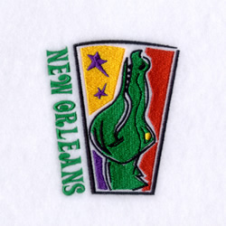 New Orleans Gator embroidery design