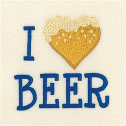 I Love Beer embroidery design