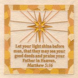 Matthew 5 16 embroidery design
