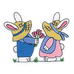 Bunny Giving Tulips embroidery design