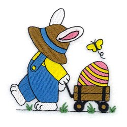 Bunny With Wagon embroidery design